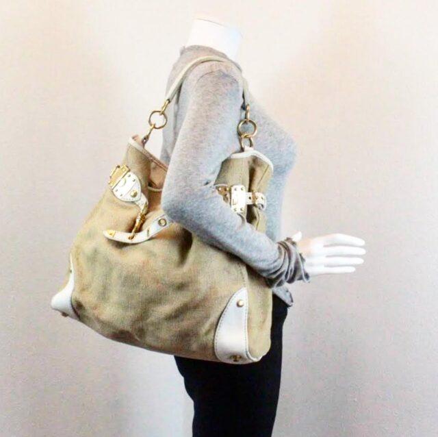 MIU MIU Beige Canapa Leather Handbag 27455 j