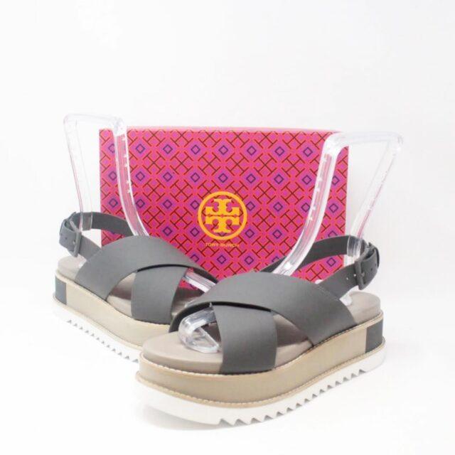 TORY BURCH Gray Leather Platform Chunky Sandals US 10 EU 40 27342 A