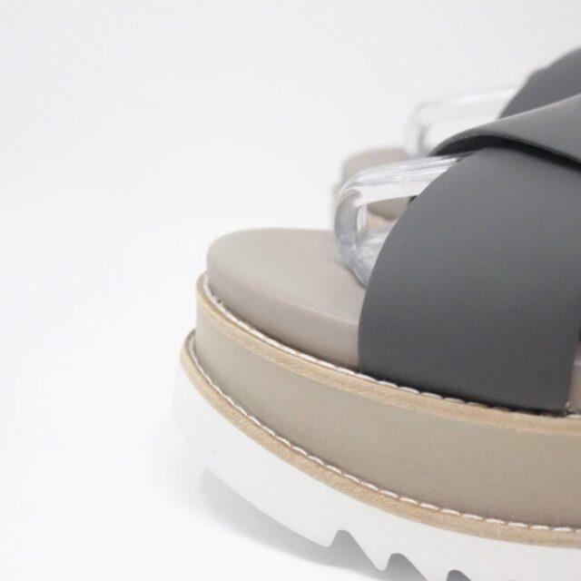 TORY BURCH Gray Leather Platform Chunky Sandals US 10 EU 40 27342 f