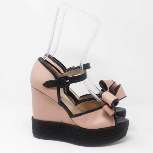 VALENTINO Black Pink Wedges US 8 EU 38 27315 b
