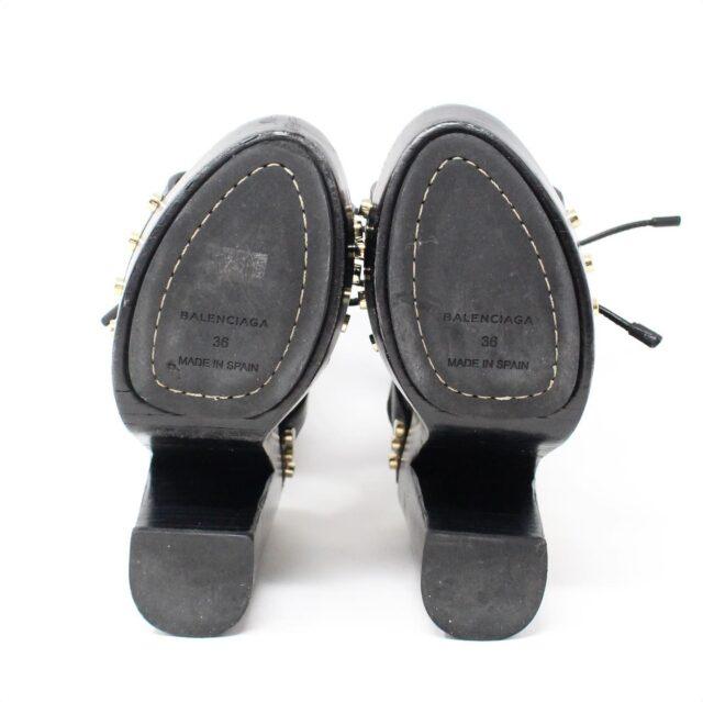 BALENCIAGA Black Leather Stud Sandals US 6 EU 36 28182 2