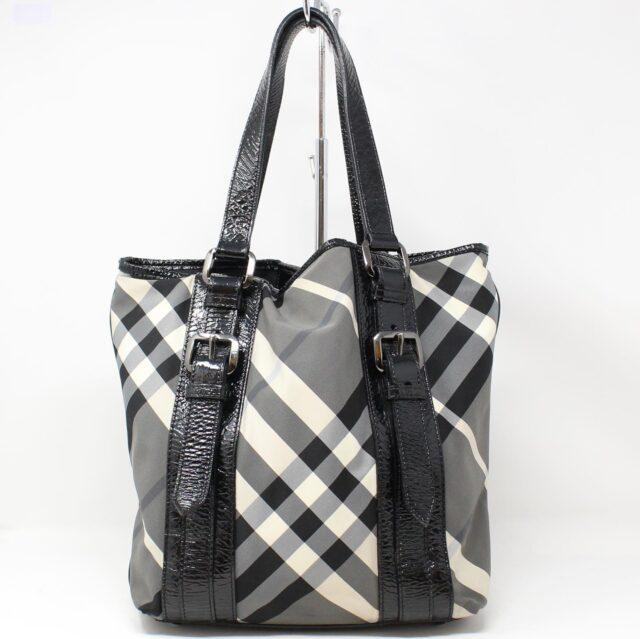 BURBERRY Gray Check Handbag 28368 1
