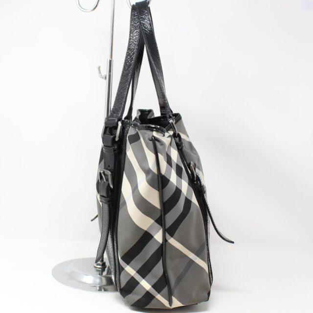 BURBERRY Gray Check Handbag 28368 2