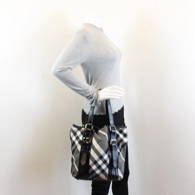 BURBERRY Gray Check Handbag 28368 6