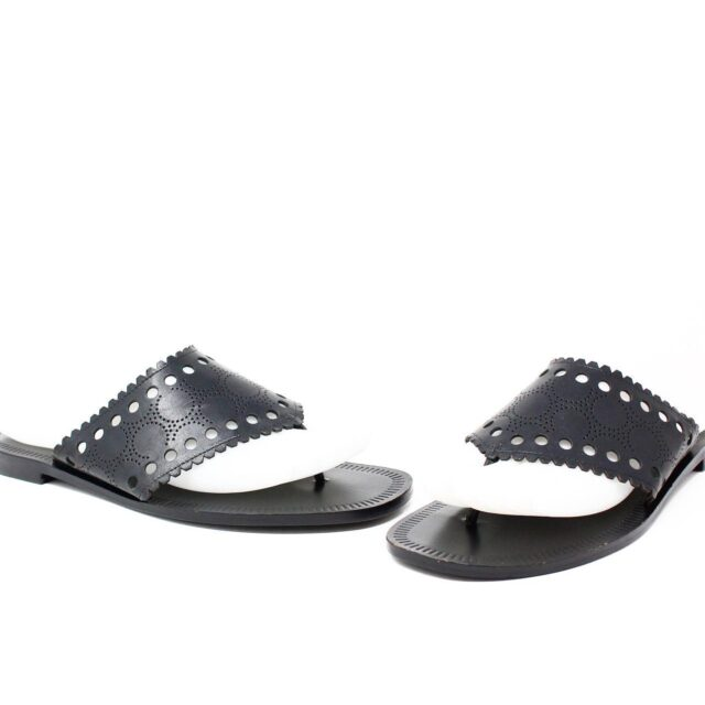 DIANE VON FURSTENBERG Black Leather Sandals US 6.5 EU 36.5 14461 1