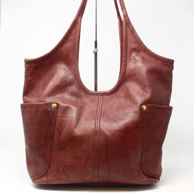 FRYE Double Pocket Maroon Leather Handbag 28004 1