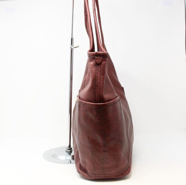 FRYE Double Pocket Maroon Leather Handbag 28004 2