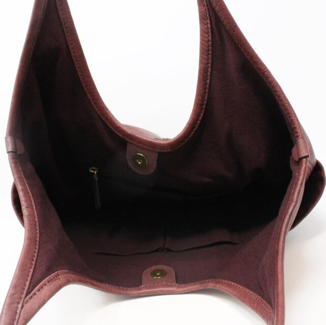 FRYE Double Pocket Maroon Leather Handbag 28004 5