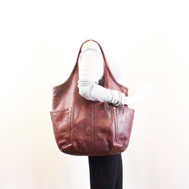FRYE Double Pocket Maroon Leather Handbag 28004 7