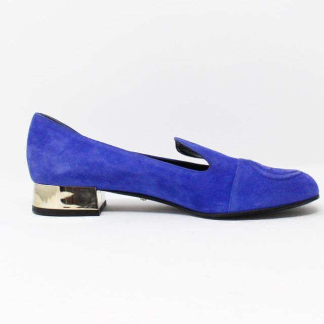 GUCCI Blue Suede Leather Loafers US 7.5 EU 37.5 AYB032 2