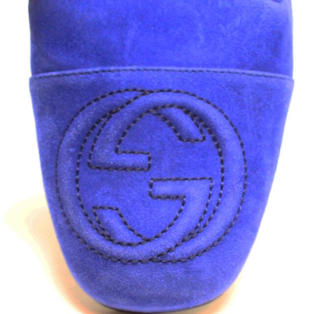 GUCCI Blue Suede Leather Loafers US 7.5 EU 37.5 AYB032 7