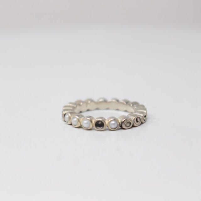 PANDORA Silver Swirl Pearl Ring Size 5 22696 1