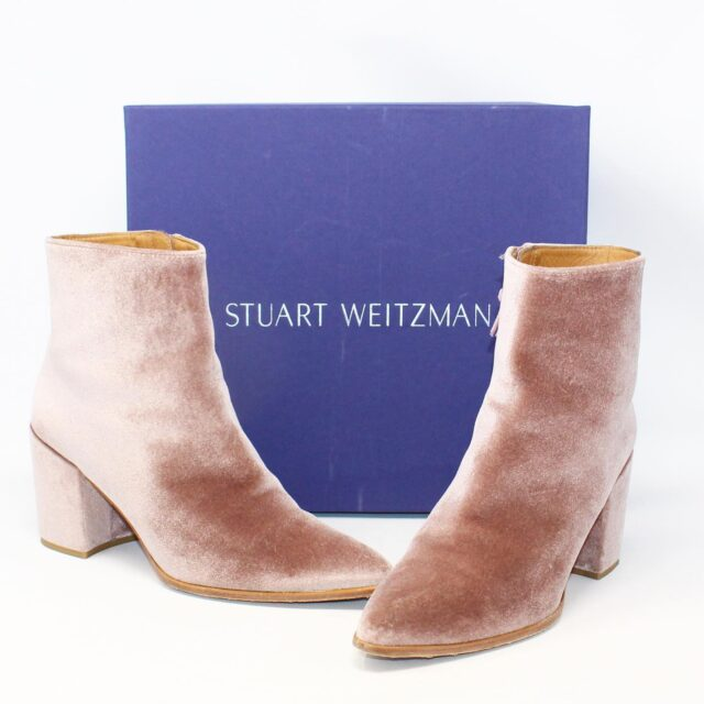 STUART WEITZMAN Pink Rose Velvet Boots US 8 EU 38 28162 1