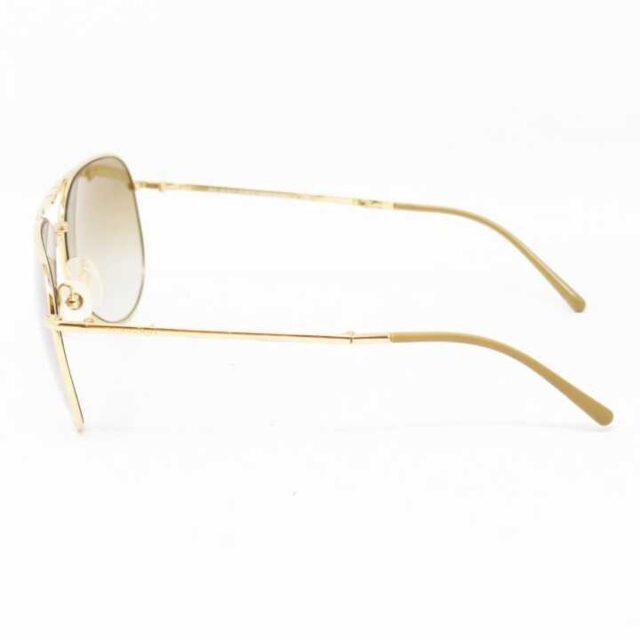 BURBERRY Gold Tone Aviator Sunglasses 3007 2