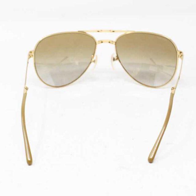 BURBERRY Gold Tone Aviator Sunglasses 3007 5