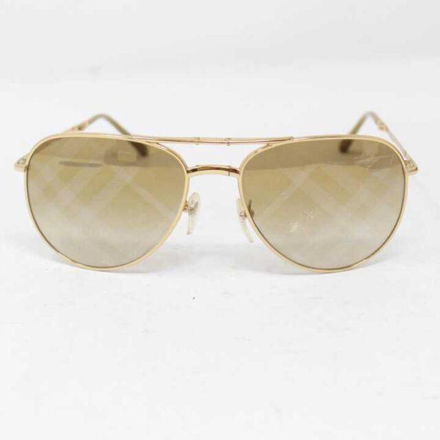 BURBERRY Gold Tone Aviator Sunglasses 3007 6