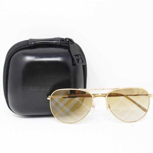 BURBERRY Gold Tone Aviator Sunglasses 3007 7