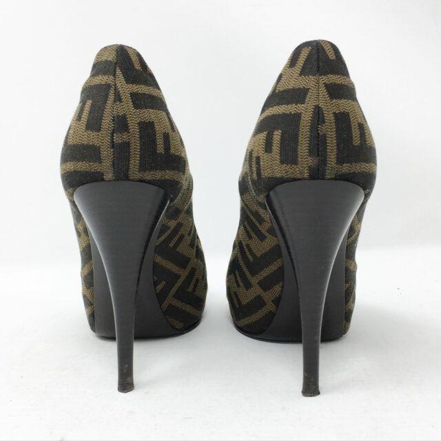 FENDI Brown Monogram Peep Toe Vero Cuoio Heels US 7 EU 37 28605 4
