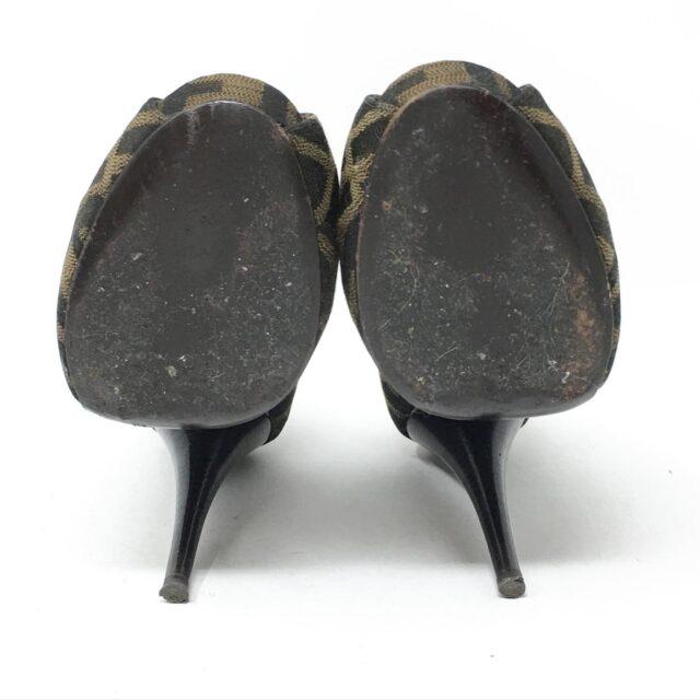 FENDI Brown Monogram Peep Toe Vero Cuoio Heels US 7 EU 37 28605 5