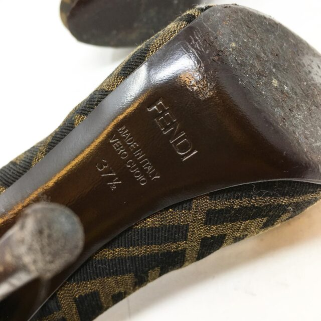 FENDI Brown Monogram Peep Toe Vero Cuoio Heels US 7 EU 37 28605 6