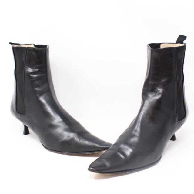 MANOLO BLAHNIK Black Leather Boot Heels US 9 EU 39 29040 1