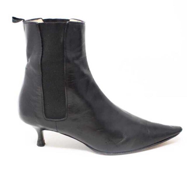 MANOLO BLAHNIK Black Leather Boot Heels US 9 EU 39 29040 2