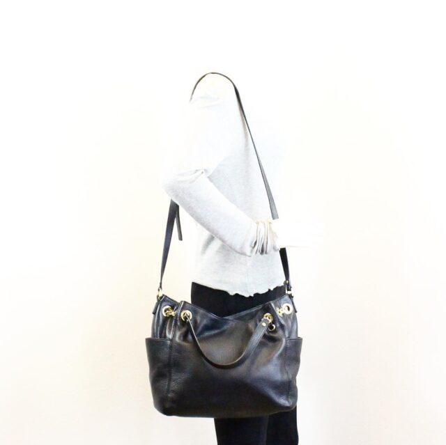 MICHAEL KORS Black Pebbled Leather Crossbody Tote 22557 9 1
