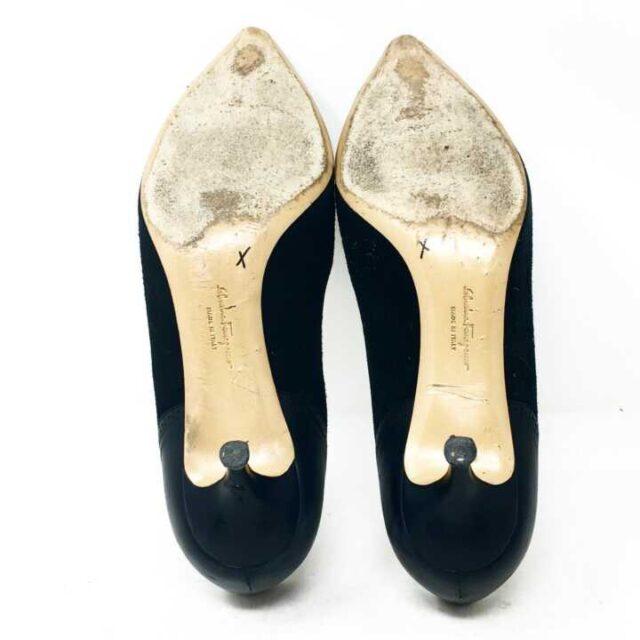 SALVATORE FERRAGAMO Black Leather Heels Size 7.5 US 37.5 EU 28803 5