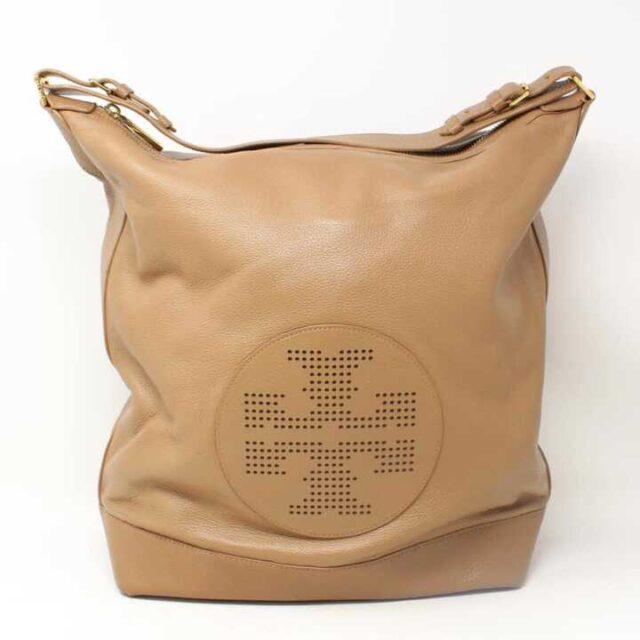 TORY BURCH Sand Pebbled Leather Hobo Handbag 29053 1