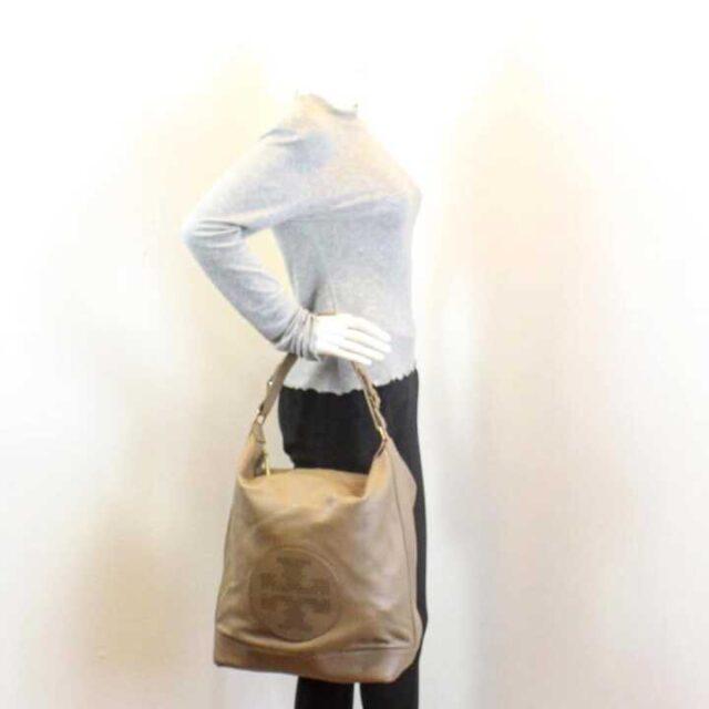 TORY BURCH Sand Pebbled Leather Hobo Handbag 29053 6