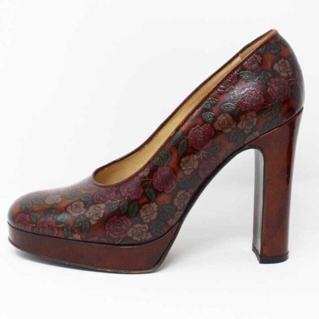 DOLCE GABBANA Brown Floral Leather Pumps US 6 EU 36 29177 2