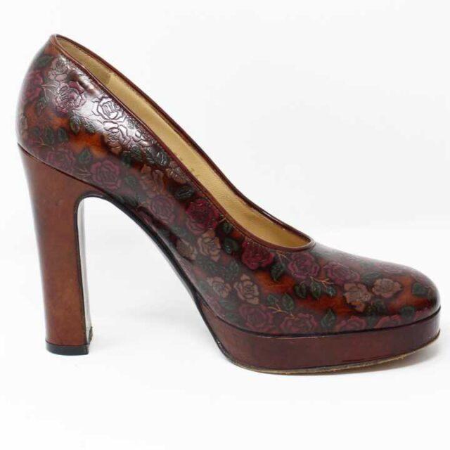 DOLCE GABBANA Brown Floral Leather Pumps US 6 EU 36 29177 3