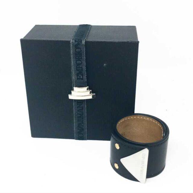 Emporio Armani Black Leather Bracelet 29189 1