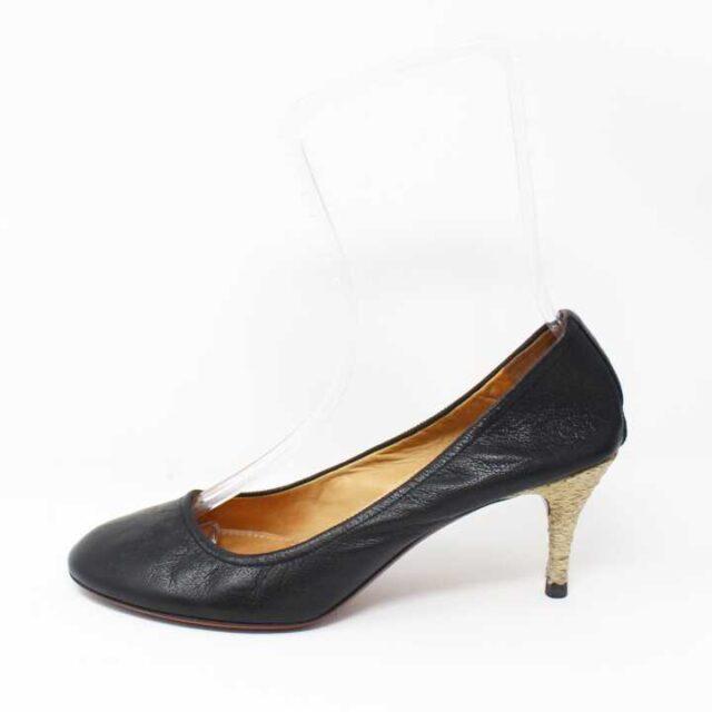 LANVIN Black Pebbled Leather Heels US 10.5 EU 40.5 29184 3