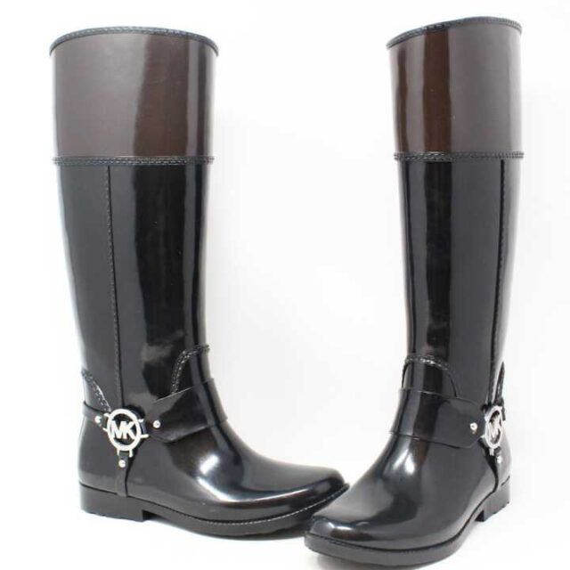 MICHAEL KORS Black and Brown Rain Boots US 6 EU 36 29170 1