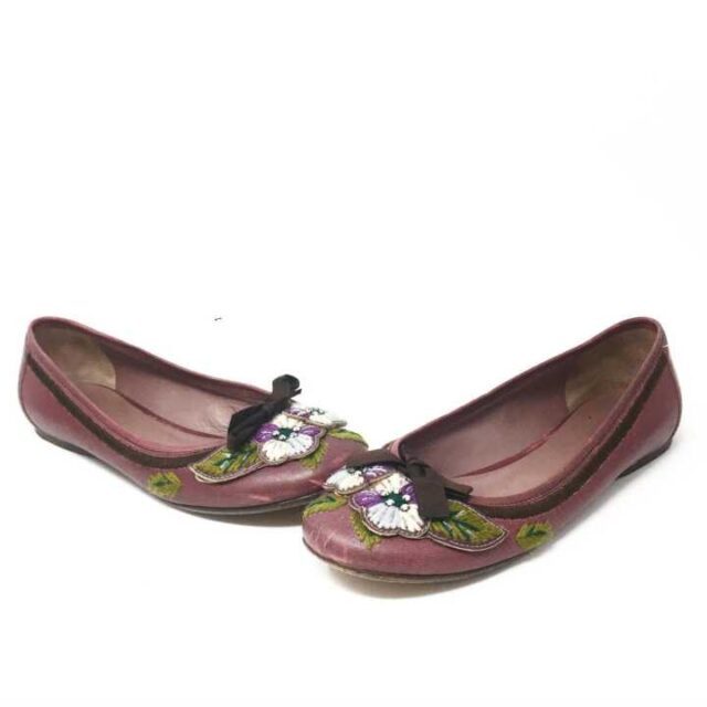MUI MUI Purple Floral Flats US 8 EU 38 29242 1