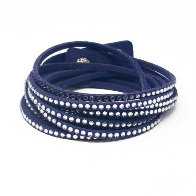 SWAROVSKI Blue Leather Wrap Bracelet 29199 2