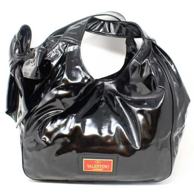 VALENTINO GARAVANI Black Patent Leather Handbag 29104 1