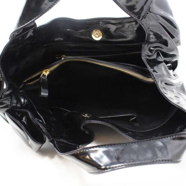 VALENTINO GARAVANI Black Patent Leather Handbag 29104 5