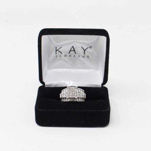 KAY 10K White Gold Cinderella Ring Size 7 29303 1 1