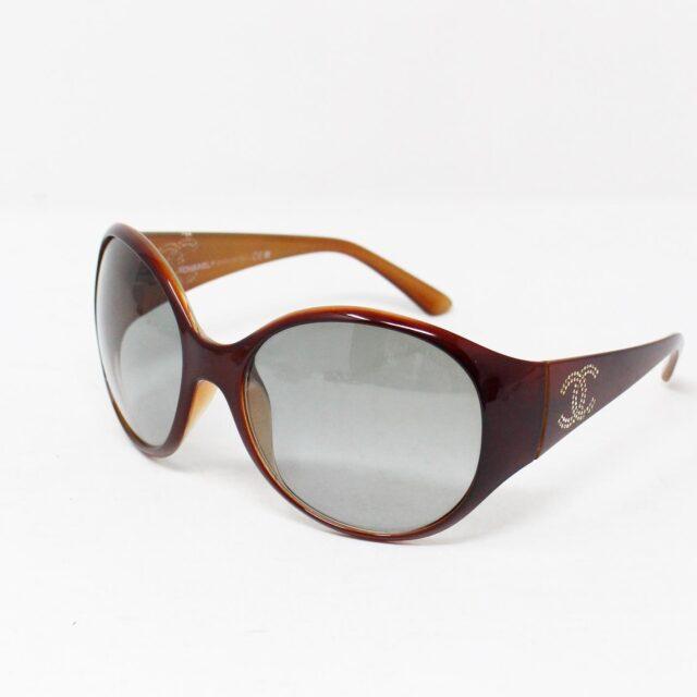 CHANEL Maroon Crystal Oval Sunglasses 30152 1