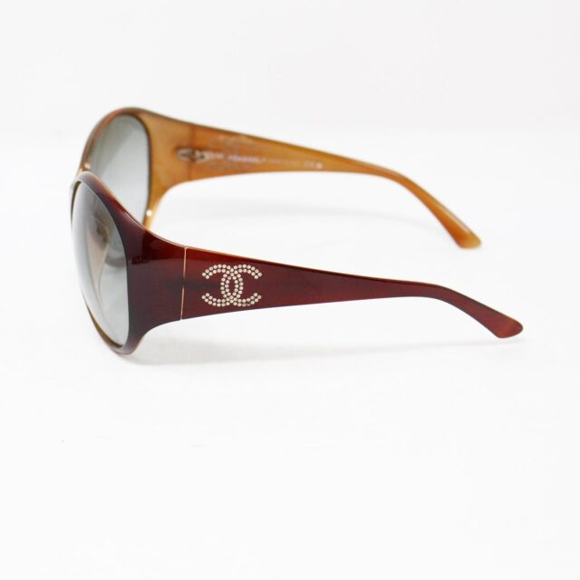 CHANEL Maroon Crystal Oval Sunglasses 30152 2
