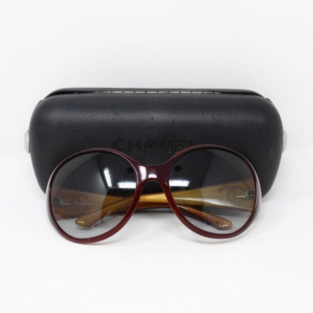 CHANEL Maroon Crystal Oval Sunglasses 30152 4