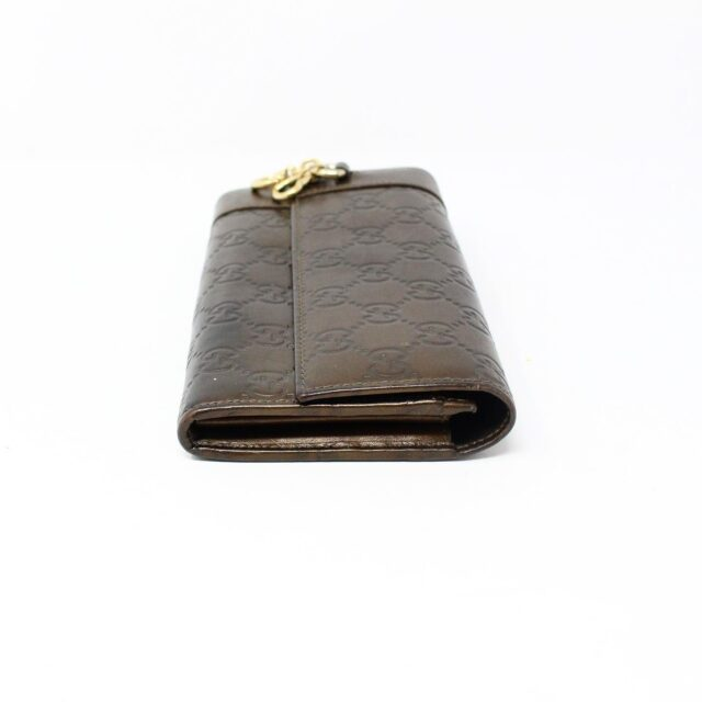 GUCCI 30051 Bronze Guccissima Leather Heart Charm Wallet 4