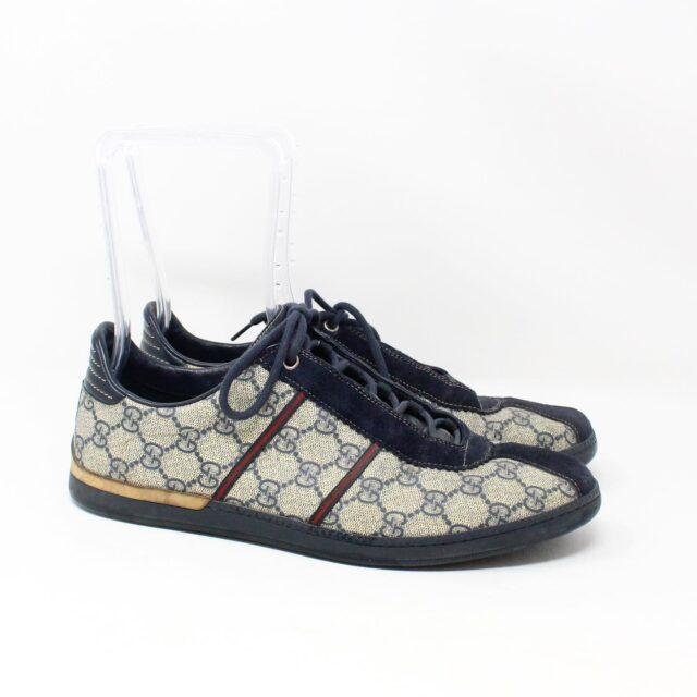 GUCCI GG 30113 Mens Beige Black Canvas Sneakers US 8.5 EU 38.5 2