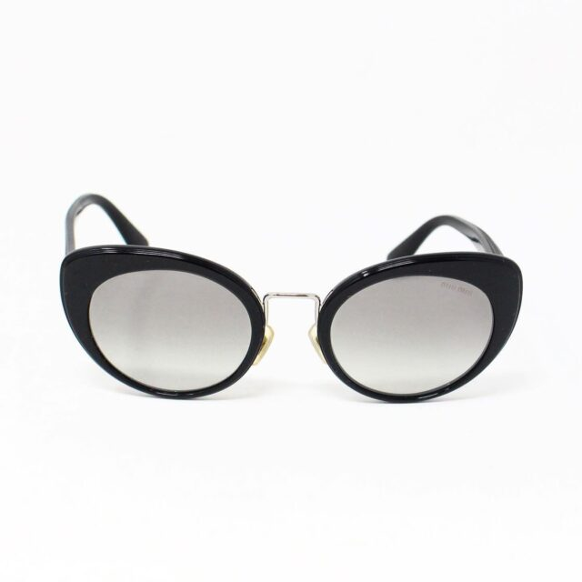 MIU MIU 30074 Black Gold Nose Oval Cat Eye Sunglasses 2