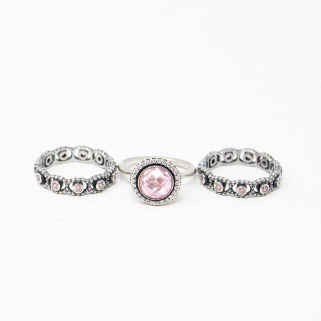 PANDORA 29938 .925 Sterling Silver 3 Ring Set 1