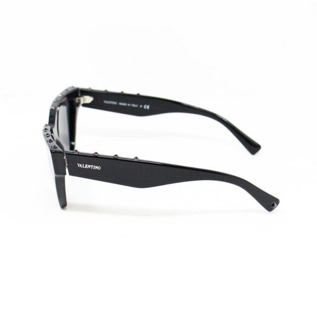 VALENTINO 30059 Black Studded Cat Eye Sunglasses 2