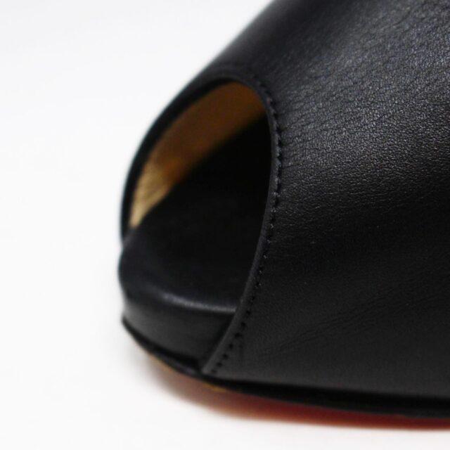 CHRISTIAN LOUBOUTIN 30627 Black Leather Fibbia Pumps US 7 EU 37 5