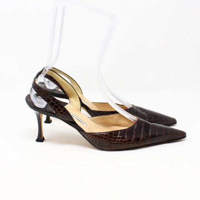 MANOLO BLAHNIK 30536 Brown Leather Slingback Croc Heels US 11 EU 42 2